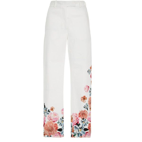 Isolda Brigitte Cropped Trousers ($300) ❤ liked on Polyvore featuring pants, capris, white, high rise pants, high-waisted pants, cropped capri pants, cropped trousers and white crop pants
