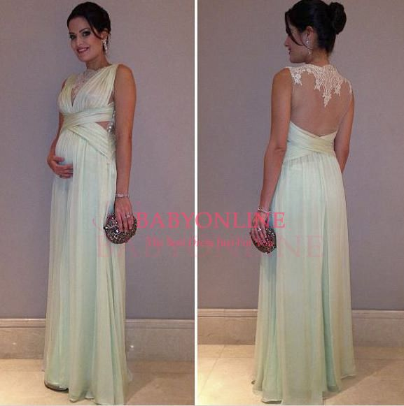 2014 Prom Dresses V-cut Sheer Crew Neck Sage Chiffon Lace Appliques Empire Backless Formal Evening Gowns $129.00