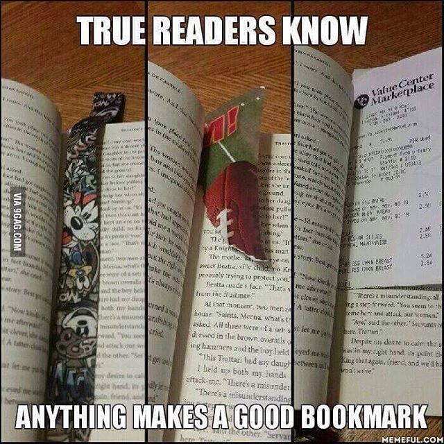 I can make a bookmark out of anything. Even another book.