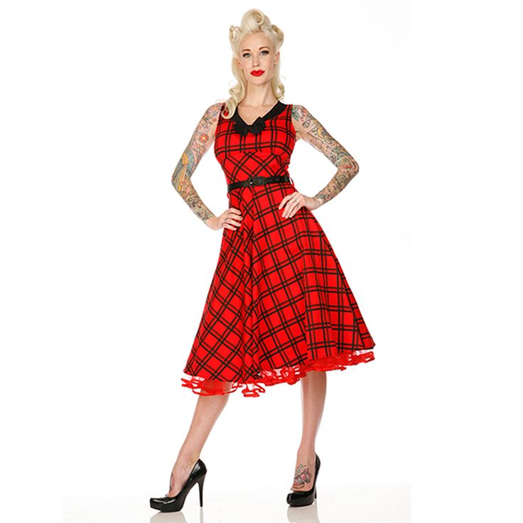 Voodoo Vixen Red Black Check Checked Flared 50s Vintage Party Prom Dress | eBay