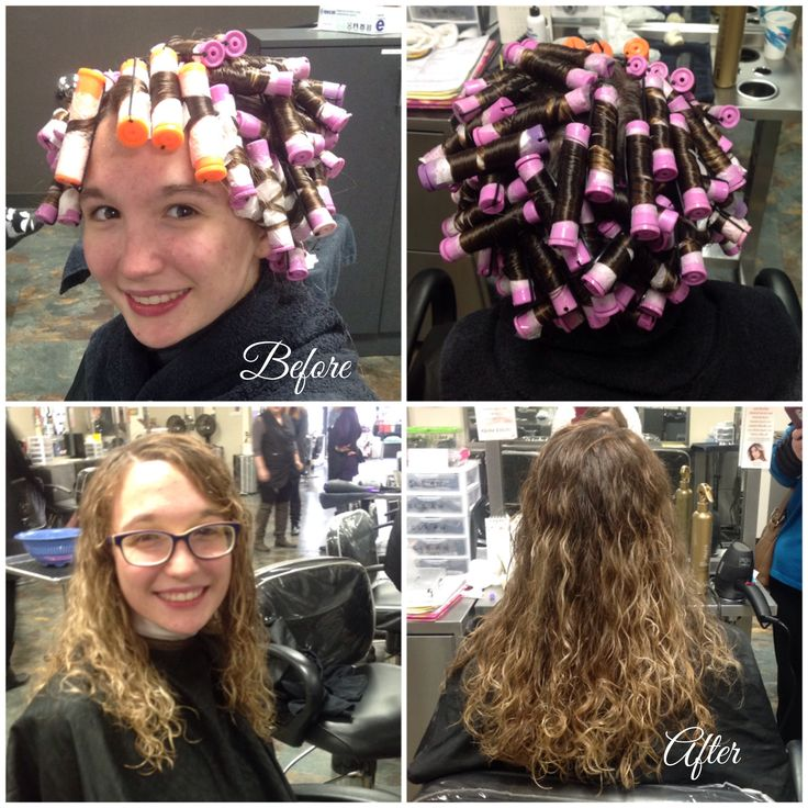 """10/19/16 spiral perm using lavender rods all over with orange on bang section. Cut 1"""" on perimeter after and styled with Wella EIMI Boost Bounce for curl hold. #wellalife #hairbeautybykristen #beautybothinsideandout #calledtolove"""