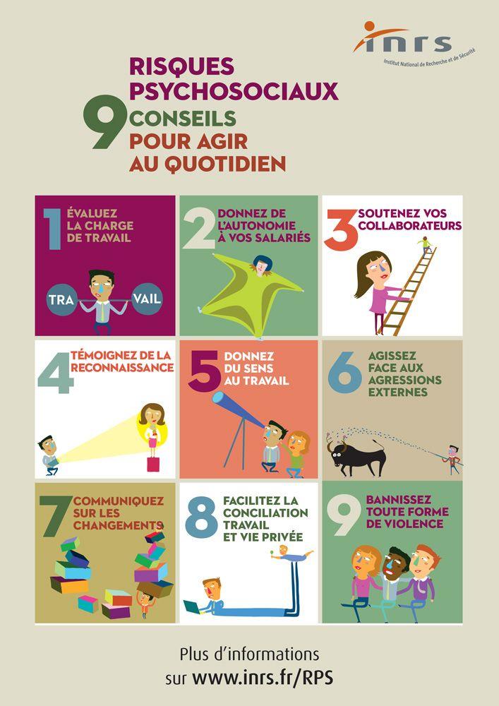 Stress, harcèlement, agression, burnout… les risques psychosociaux prennent diverses formes. S'ils ne sont pas pris en compte, des conséquences peuvent apparaitre sur la santé des salariés et le bon fonctionnement de l'entreprise. Voici 9 conseils pour agir au quotidien.