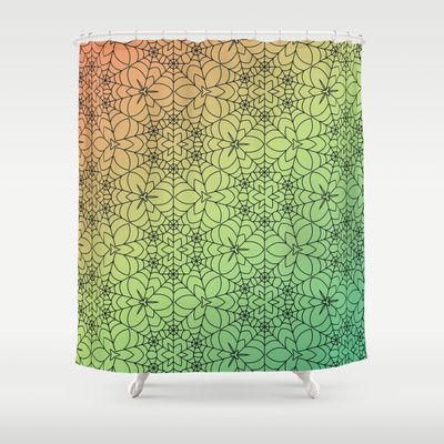 Decorative black Spider Web Shower Cutains spiraled with an ornate floral seamless pattern with a green, yellow, orange gradient colors. Done in vector for a clean simple look.