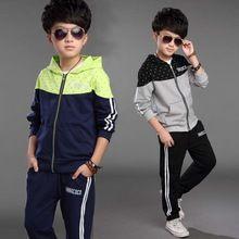 2015 outono inverno moda com capuz sólidos crianças define 2 peças meninos fatos de treino miúdos vestuário casaco + calça 6 8 10 12 14 anos de idade(China (Mainland))