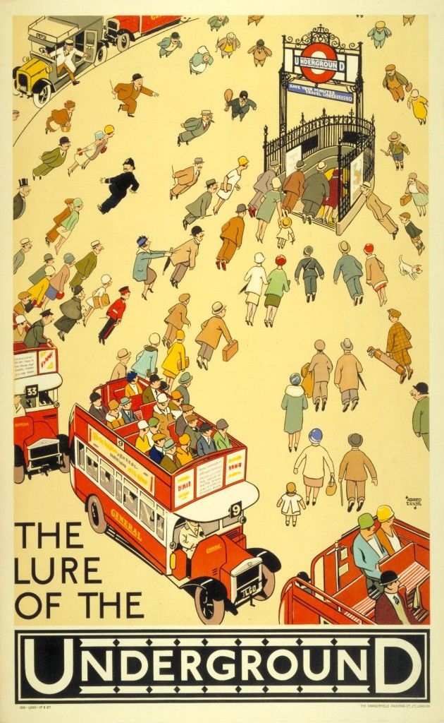 Vintage Poster: Alfred Lette The Lure Of The Underground commuters, England, groups of people, London, Subway Stations, Trains, travel, underground, united kingdom