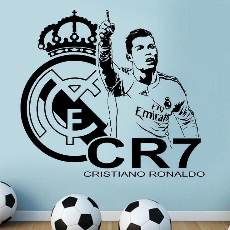 ZN F1 3D CRISTIANO RONALDO  team logo Vinyl Wall Sticker REAL FC Footballer star Decal removable home decor Football Star decal