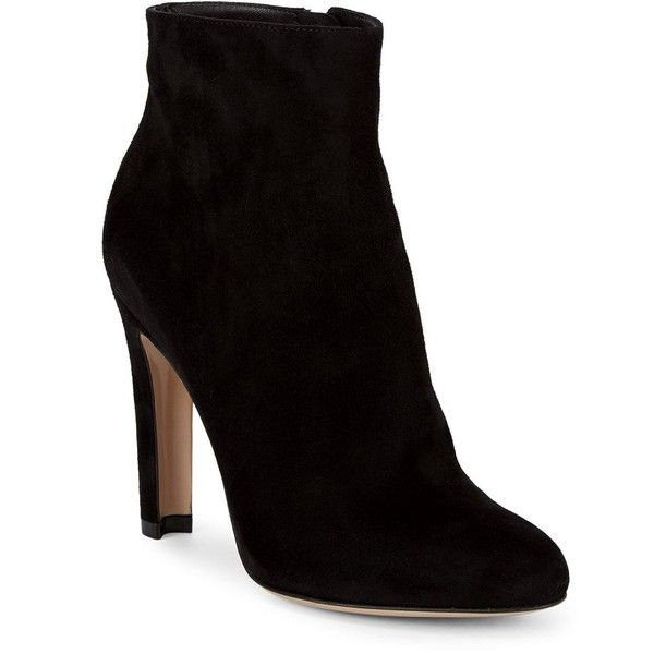 Gianvito Rossi Suede Booties (€350) ❤ liked on Polyvore featuring shoes, boots, ankle booties, ankle boots, black suede booties, black boots, black suede ankle booties, suede bootie and black ankle bootie