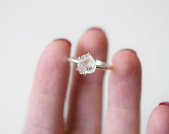 Simple Diamond Engagement Ring, Raw Diamond Ring, Rough Uncut Diamond Ring, Modern Jewelry, Sterling Silver Engagement Ring, Size 8, Avello