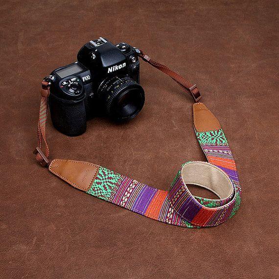 Nikon Camera Strap - DSLR Leather Camera Strap - Canon Camera Strap - Cotton Fabric Bohemian Utility Camera Strap