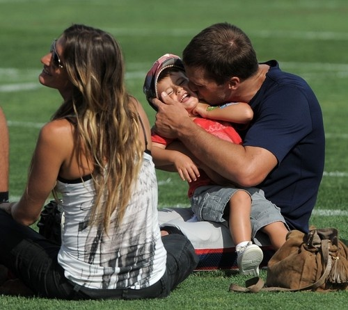 Gisele, Tom and Benjamin Brady at Patriots training camp. August 7