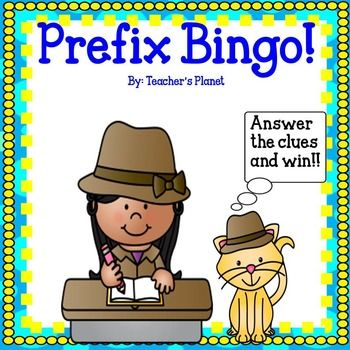 Prefix Bingo Freebie! Kids love to play Bingo! Why not learn about prefixes at the same time?To celebrate my 2,000th follower, I wanted to give away this fun Prefix Game for free! Prefix Bingo includes the following prefixes:UN, DIS, RE, PRE, and MISIncluded are:*6 Bingo Boards for small groups*A blank Bingo Board for students to fill in for large groups*Calling cards*Calling cards with clues to help students understand the meaning of the prefix words*Prefix charts Here are other Language…