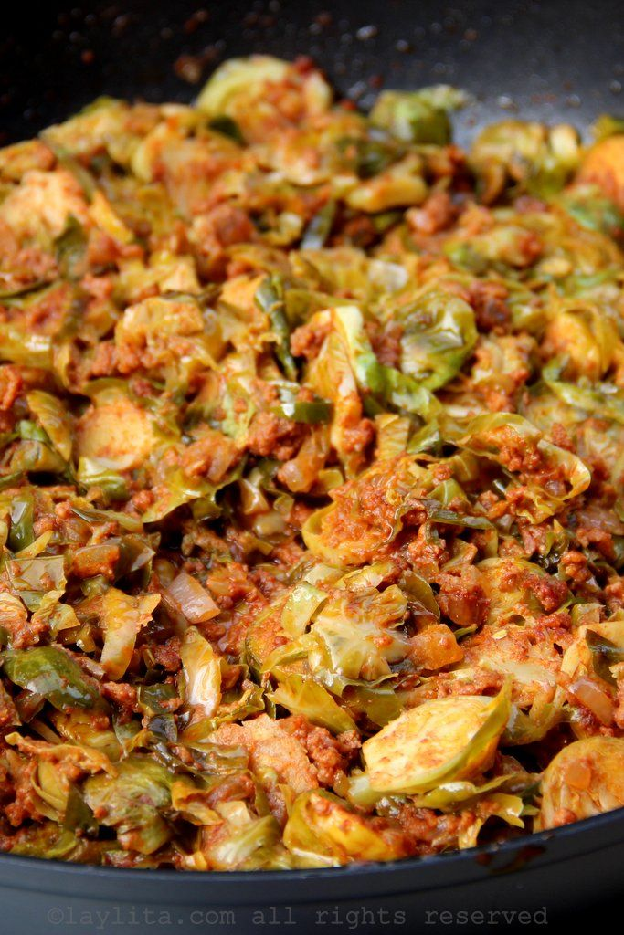 Brussels sprouts with chorizo and cilantro