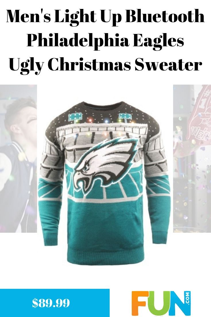 Mens Light Up Bluetooth Philadelphia Eagles Ugly Christmas Sweater