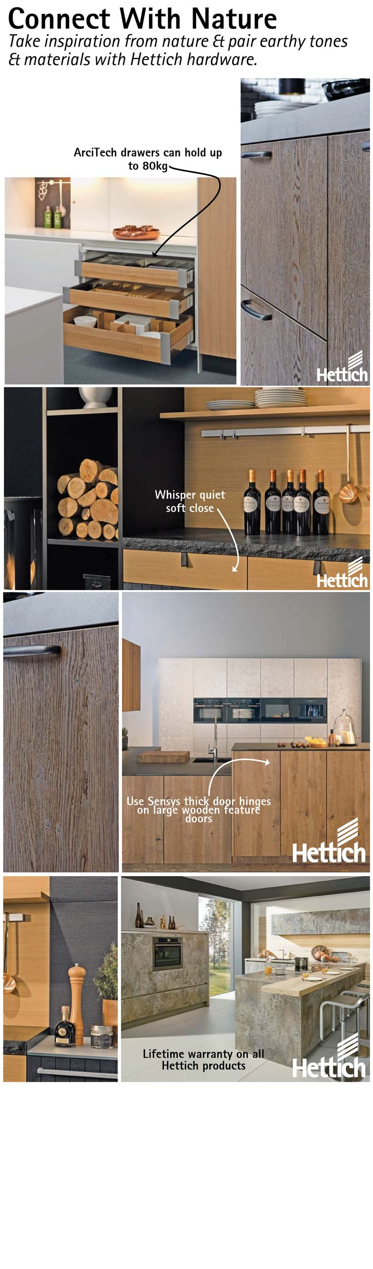 Take inspiration from nature pair earthy tones & materials with Hettich hardware. Click on the pin for more inspiration. #woodenkitchencabinets #designerkitchen