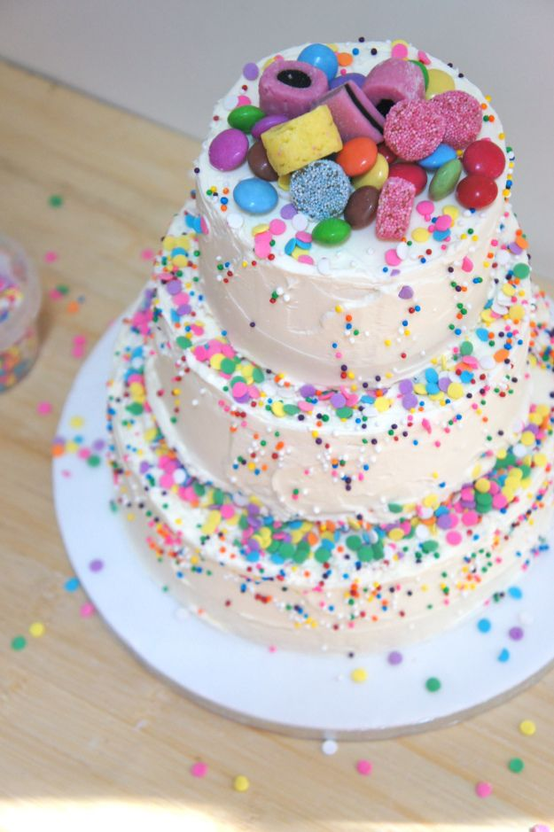 Rainbow Sprinkles Birthday Cake
