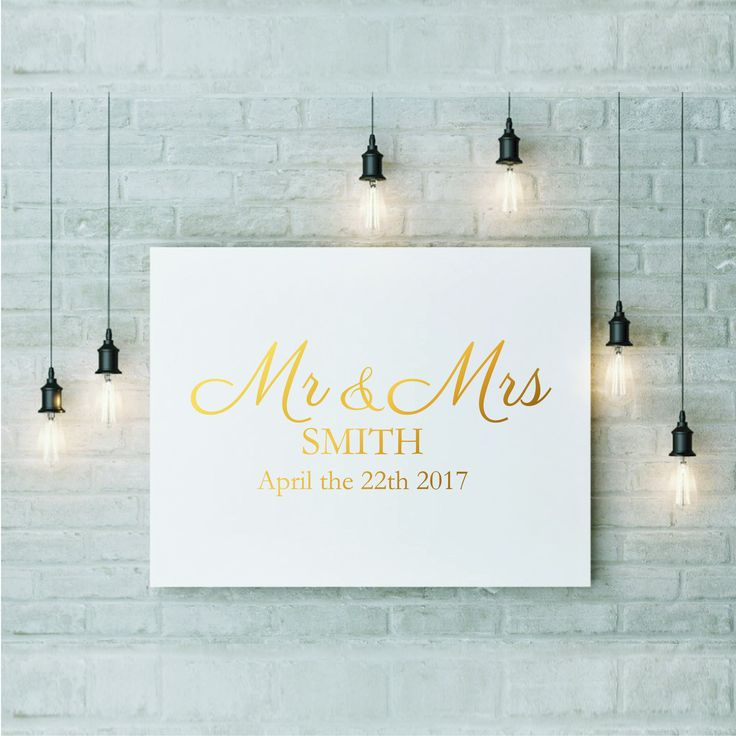Large Custom Gold Foil Print Wedding Sign Real Foil Decal Wedding Singage Custom Wedding Sticker Big Personalised Date Silver Foil Print by FixateDesigns on Etsy