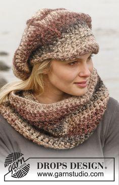 """Crochet DROPS neck warmer and cap in """"Eskimo"""". ~ DROPS Design  #crochet cowl"""