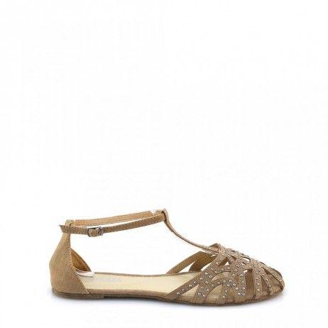 sandalele dama khaki cu tinte talpa joasa