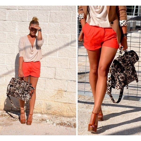 Summer - orange shorts and neutral wedges...and I already have the shorts, so I'm halfway there!