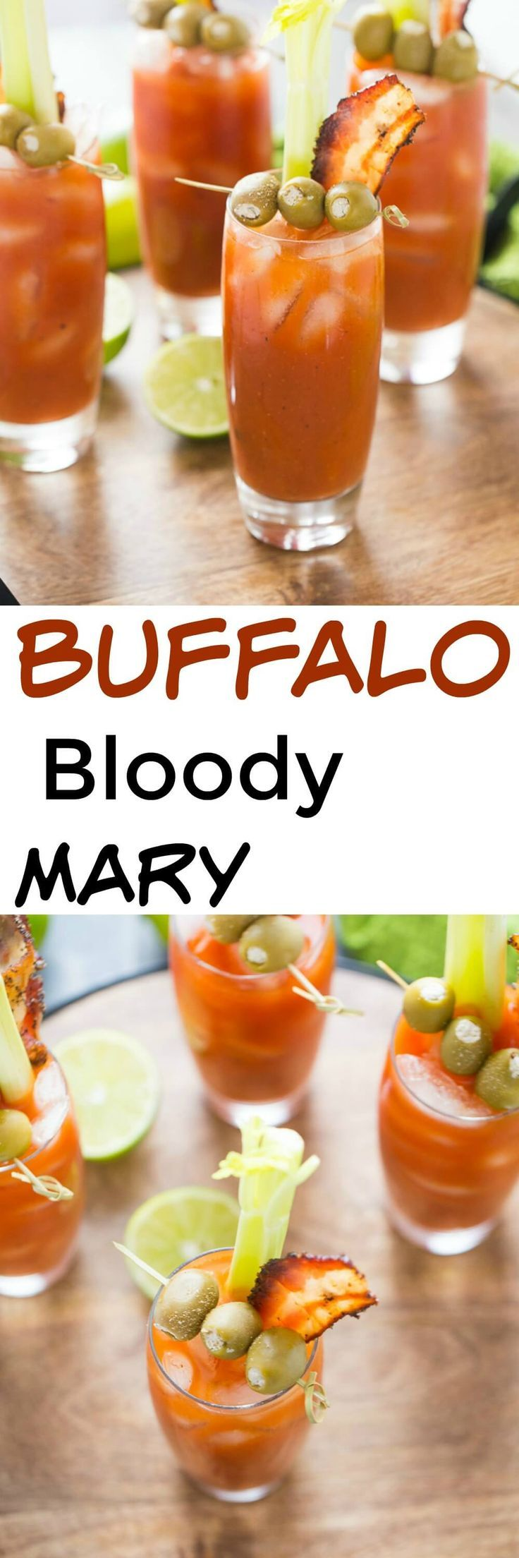 This bloody Mary is one of a kind! Spicy Buffalo sauce is mixed into each cocktail. Finish these drinks off with blue cheese stuffed olives and peppery bacon! lemonsforlulu.com via @Lemonsforlulu