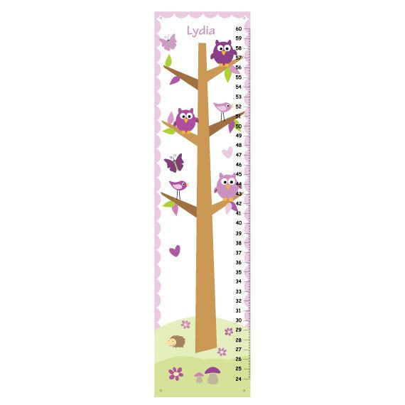Purple Owls Canvas GROWTH CHART Girls Bedroom by KidODesignStudio
