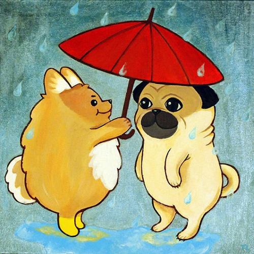 <3: Dogs, Animal Collection, Ball Ball, Friends Illustrations, Pet, Fat Animal, Happy Animal, Cartoon Animal, Pugs Art