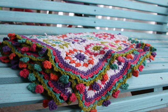 Gorgeous baby blanket made by myrtle & lucy. Using the Copenhagen Pillow pattern by Yvestown and  the Pretty Crochet Trim by Attic24. Trim pattern here http://attic24.typepad.com/weblog/pretty-crochet-trim.html