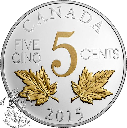 Coin Gallery London Store - Canada: 2015 5 Cent Legacy of the Canadian Nickel: The Two Maple Leaves Silver Coin, $109.95