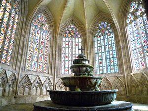 English Heiligenkreuz Abbey. The window on the left originates from the 13th century.