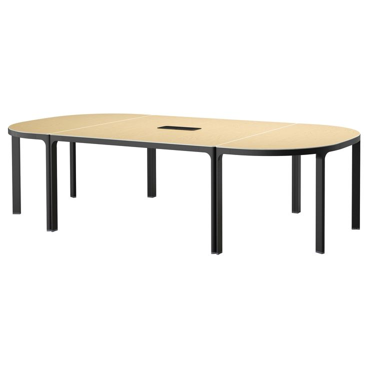 IKEA - BEKANT, Konferansebord, bjørkefiner/svart, , 10 års garanti. Les om vilkårene i garantiheftet.Fineroverflaten er holdbar, flekkavvisende og enkel å holde ren.Innebygget kabelsamler; holder kabler ute av syne, men like i nærheten.