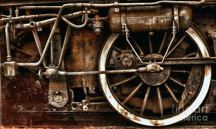 Steampunk- Wheels Of Vintage Steam Train Photograph