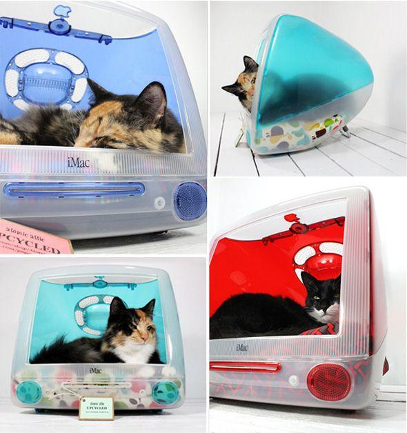 Vieux iMac Recyclés en Maisons pour Chats par Atomic Attic