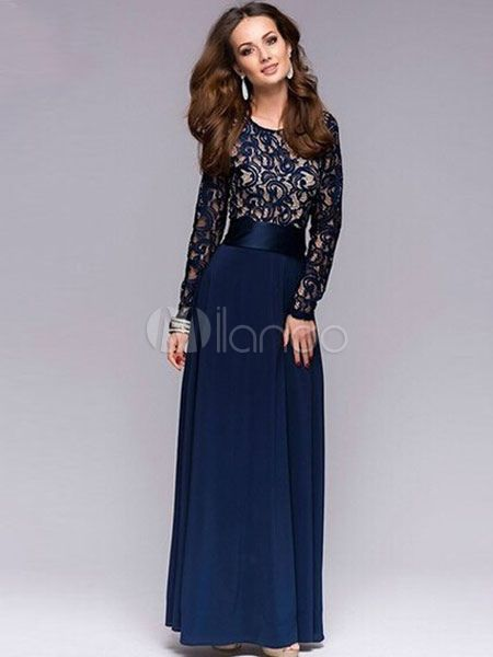 085df8056 Vestido largo de azul oscuro con escote redondo Color liso de encaje con  manga larga estilo informal