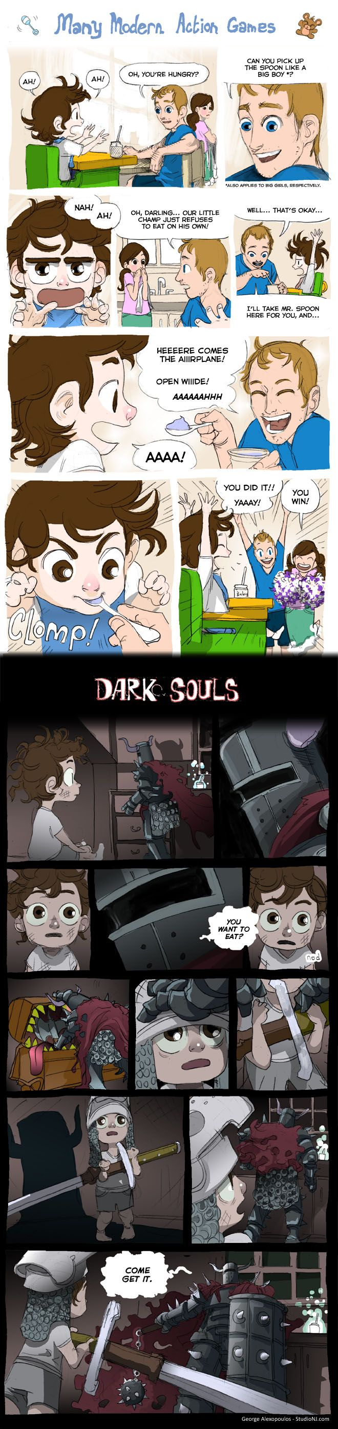 Action Games Vs. Dark Souls is a new comic by George Alexopolus