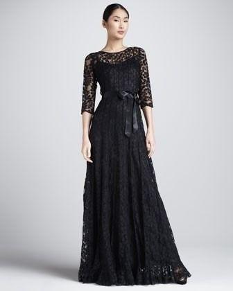 vestido - gg- importado longo refinado elegante renda preto: