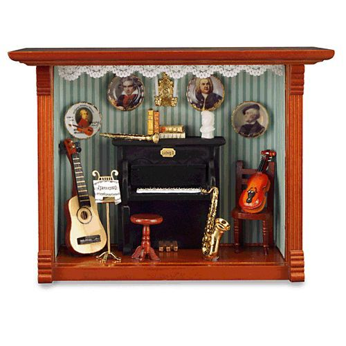 Miniature Children S Bedroom Room Box Diorama: Dollhouse Miniature Music Room Shadow Box In 1/12 Scale