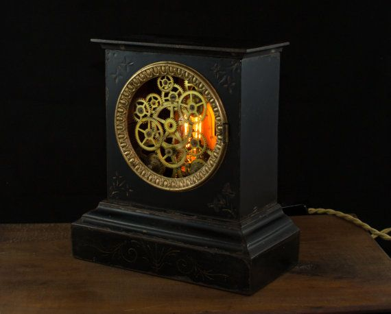 Antique Mantle Clock Lamp Accent Lighting by GallagherStudio