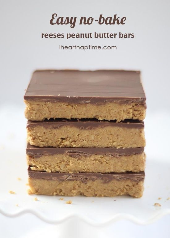 Reeses peanut butter {no-bake} bars ...this recipe only takes minutes to make and is the best!.