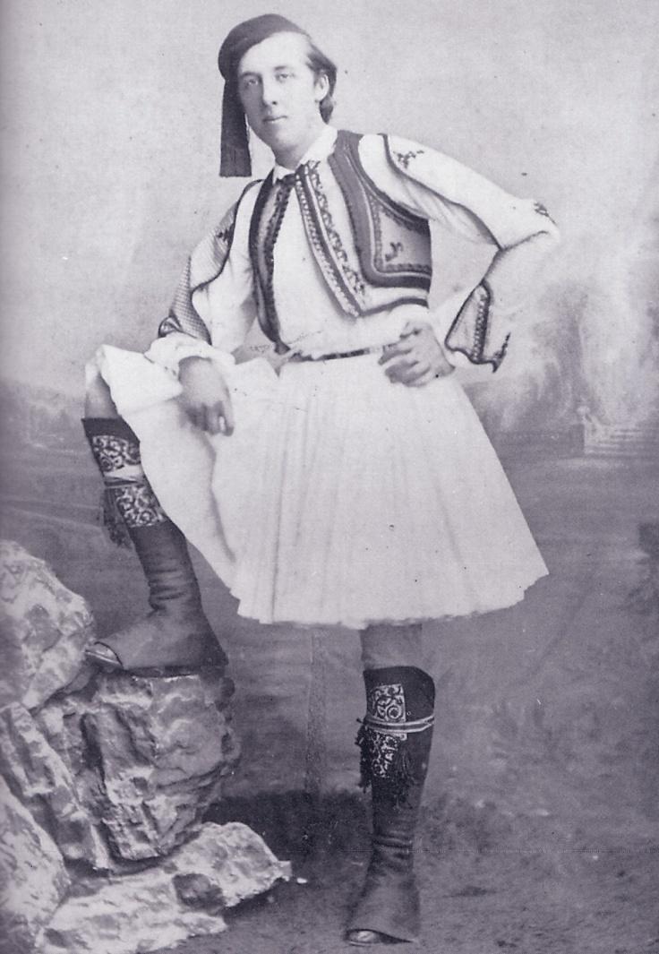 Oscar Wilde in Greek national dress (tsolias)