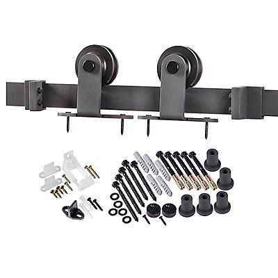 The Top of Door Strap Barn Door system features a classic face mount flat strap to hang wood doors on a traditional rail track. The large wheels provide excellent strength and durability as-well-as smoothness of travel along the track.