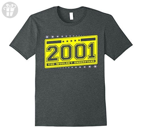 Mens Born in 2001 birthday 16 th gift perfect T-Shirt 3XL Dark Heather - Birthday shirts (*Amazon Partner-Link)