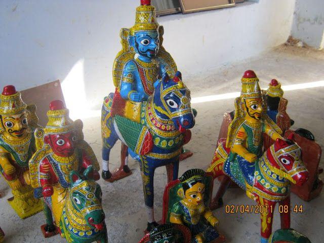 Cheriyal Paintings by Vaikuntam nakash: cherial dolls & masks