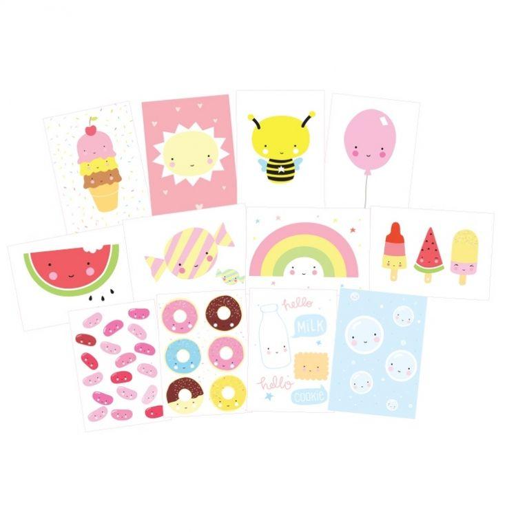 Cute Kawaii kaartenset (set van 12)