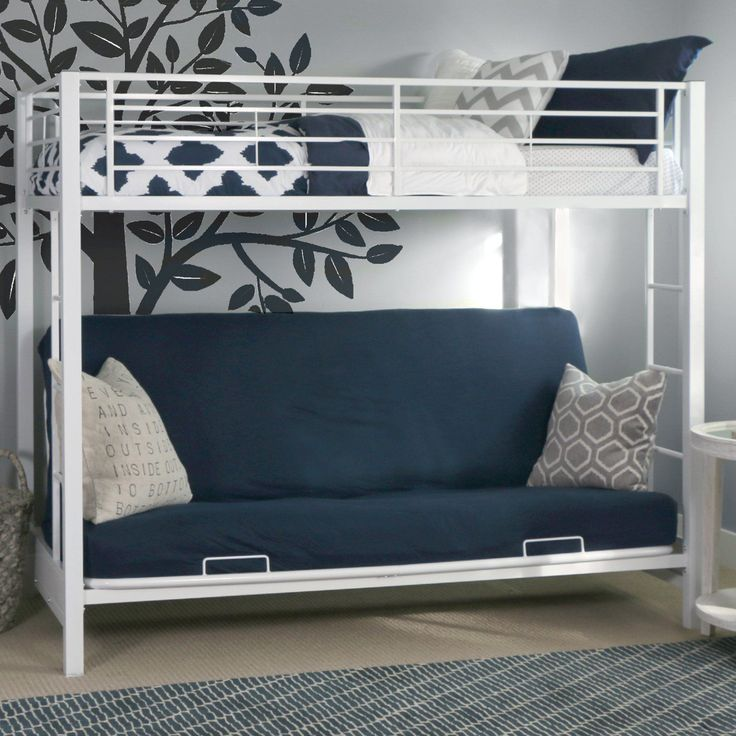 Bedroom With Wall Mural And Futon Bunk Bed