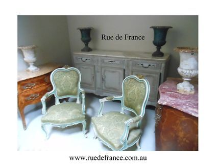 ANTIQUE VINTAGE FRENCH GREEN / WHITE PAINTED PARLOR CHAIRS