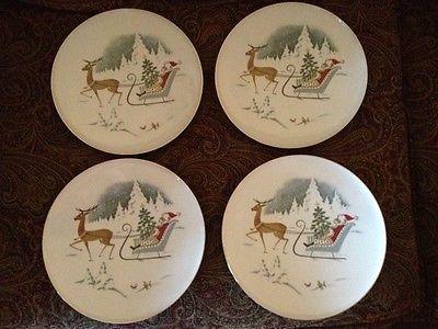 German Christmas FOUR DINNER PLATES Santa Reindeer & 34 best Reindeer Dinnerware images on Pinterest | Christmas dishes ...