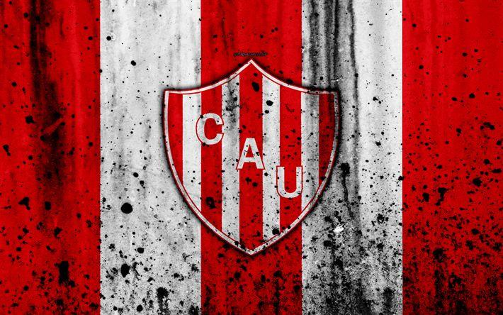Download wallpapers 4k, FC Union, grunge, Superliga, soccer, Argentina, logo, Union Santa Fe, football club, stone texture, Union Santa Fe FC