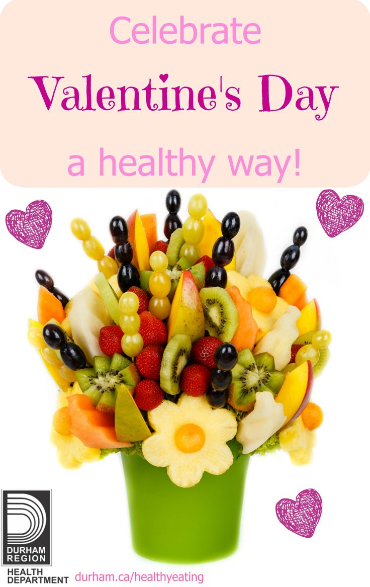 Valentine's Day is a great opportunity to get creative with healthy snacks. You can make a fresh fruit bouquet with skewers which can be a healthy and thoughtful gift. You can include the kids and use a heart shaped cookie cutter to cut out a healthy sandwich you made for them. You can also offer your kids different red coloured food items to try (e.g., red kidney beans, red bell peppers, red skinned potatoes, red apple, etc.).