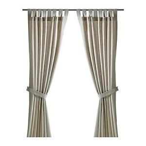 Ikea-Curtains-Tab-Top-Lenda-140cm-x-300cm-drop-Grey-Beige-White