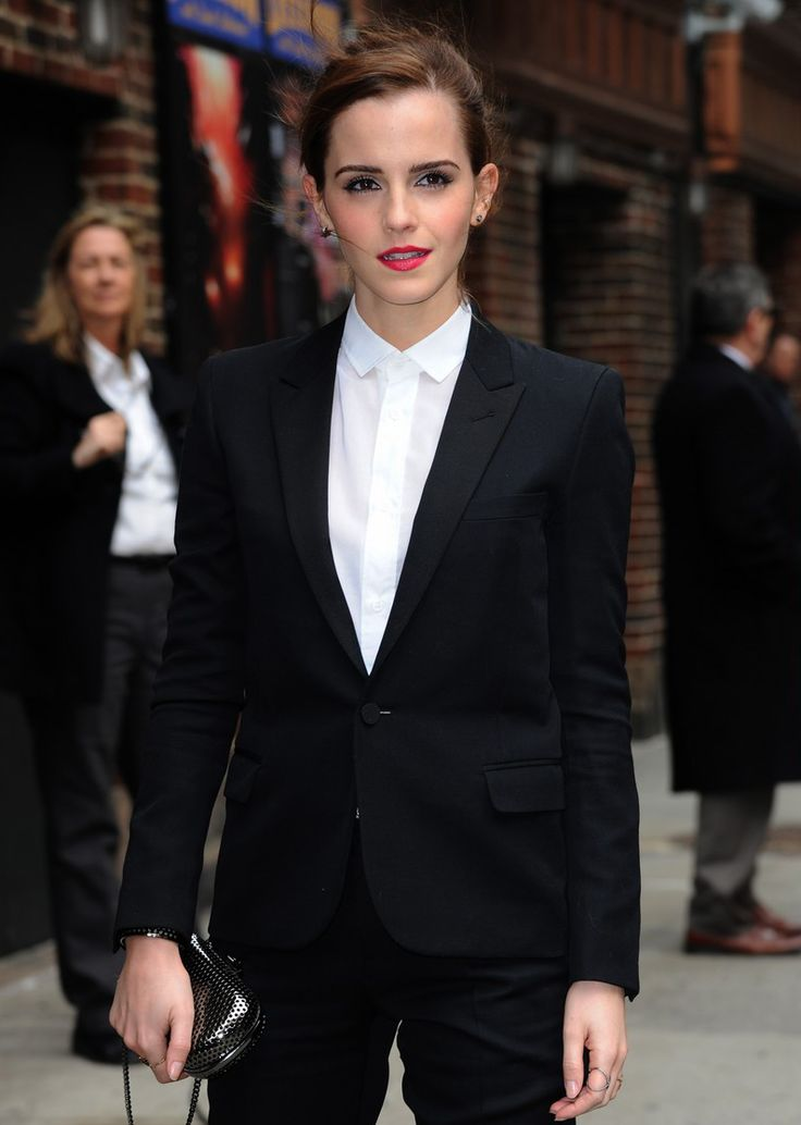 celebstarlets:  3/25/14 -Emma Watson arriving to 'The Late Show with David Letterman' in NYC.